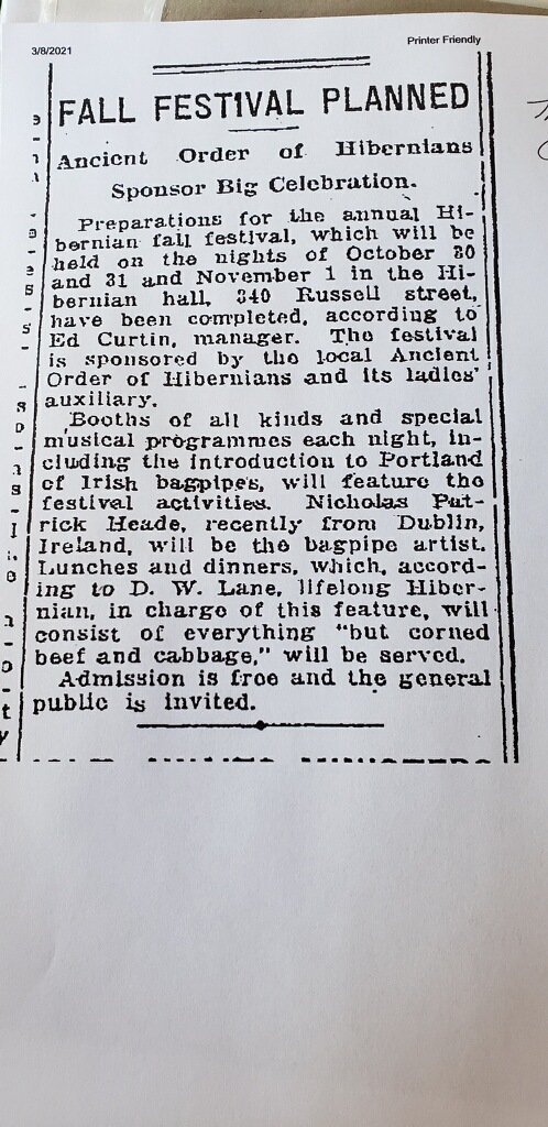 Grandfather Nicholas Patrick Heade plays 1924 Ancient Order of Hibernians St Pat's Celebration, Portland OR